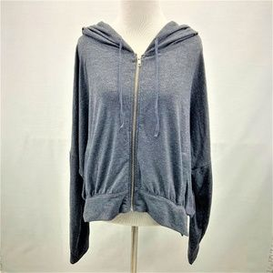 Victoria's Secret Grey Crop Zip Hoodie Size L